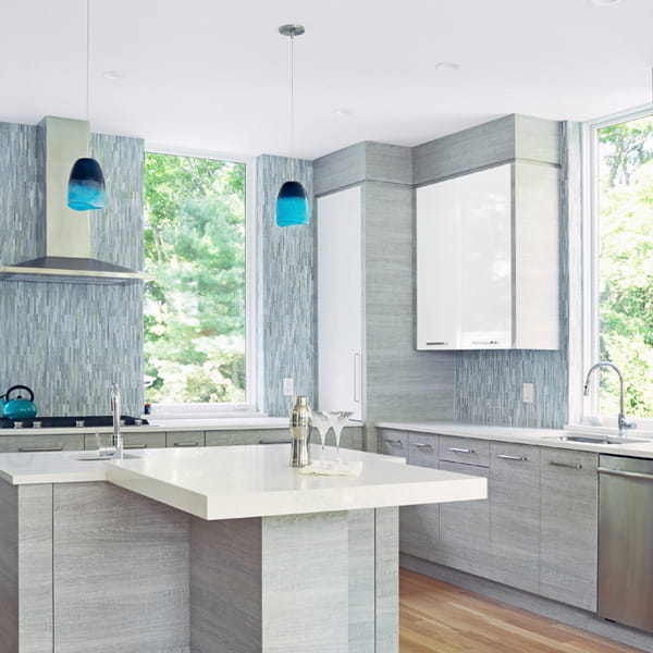 Modern grey and white kitchen with E-Series casement Andersen Windows