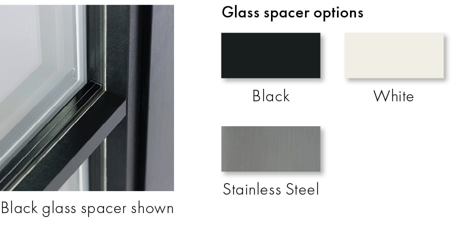 Glass Spacer Options - Black, Stainless Steel, and White