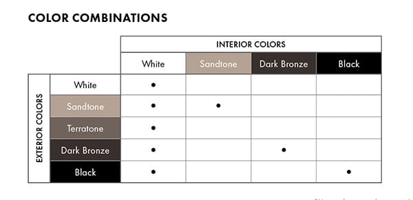 100 series window and door color combinations