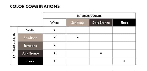 100 series window and door color combinations